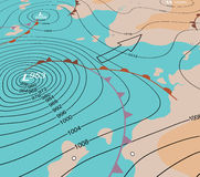Storm depression chart. Editable vector illustration of an angled generic weather map showing a storm depression vector illustration