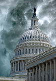 Storm Descends on Capitol Hill. Monstrous storm clouds on Capitol Hill.  This image could illustrate frustration with Washington politics, anger at Donald Trump Stock Photos