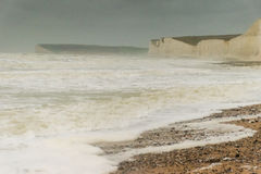 Storm Desmond rough sea Birling Gap, Seven Sisters  Royalty Free Stock Photography