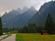 Storm in the Dolomites stock images
