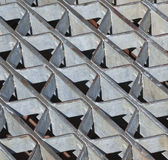 Storm Drain Abstract Pattern. Of coarse steel screen grating photographed in North Beach, Maryland USA stock photos