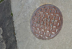Storm Drain. Cover on pavement Royalty Free Stock Photography