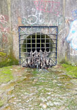 Storm drain with garbage encrusted grate Stock Photography