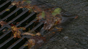Storm Drain, Heavy Rain, Slow Motion, Extreme Close Up. Water from heavy rain flows through a manhole cover into a storm drain stock footage