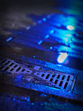 Storm Drain Night. A downtown storm drain at night Royalty Free Stock Photo