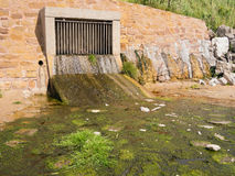 Storm Drain Outflow. Onto a beach, with vegetation growing in the discharge Royalty Free Stock Image