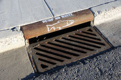 Storm Drain Waste Dumping Warning royalty free stock photography