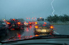 Storm Driving. Hazards of driving during a tropical storm extreme caution is needed Royalty Free Stock Photo