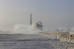 High Waves, Plage Du Havre, France Royalty Free Stock Photo