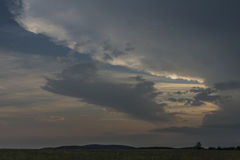Before storm in evening in Krusne hory mountains Stock Photography