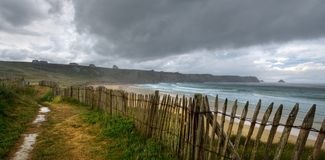 Storm in Finister, Bretagne, France. It is raining in the end of land. Storm in Finister, Bretagne, France stock photography