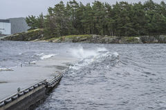 Storm at the floating pier at Isebakke Royalty Free Stock Image