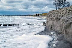 Stormflood at the Baltic Sea in Germany stock photos