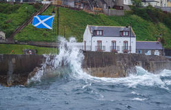 Storm flood in Gardenstown Stock Images