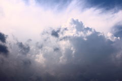 Storm front. Clouds. Thunder-storm. Wind. Blue sky. Cumulus clouds. Nature. Bright sky. Cumulonimbus clouds. Rain. The thunder-storm, very strong wind royalty free stock image