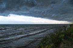 Storm front over water. Coming from coast Stock Images