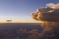 Storm Front w Airplane Royalty Free Stock Photo