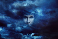 Storm goddess face Stock Images