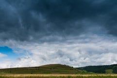 Storm on grainfield stock photos