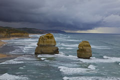Storm on the Great Ocean Road. Storm on the horizon on the Great Ocean Road in Australia. Overlooking two of the twelve apostles Royalty Free Stock Images