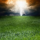 Storm, green field Stock Photo