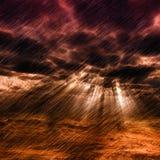 Storm. Grim fantastic landscape with a rain storm Stock Images