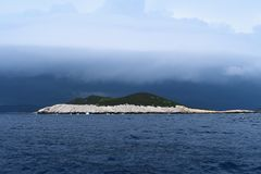 Storm has comming. Shelf cloud over the island of `Kruciva`,Nature park Lastovo islands-Croatia royalty free stock photo