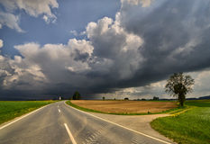Storm on the horizon. Spring storm over a small Bavarian village Royalty Free Stock Photos
