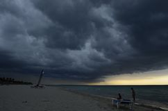 The storm. How loks the beach when the storm came stock photos