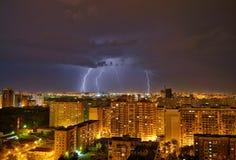 Storm i den krasnodar staden Arkivfoto