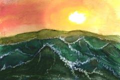 Storm i havet på solnedgången Arkivbild