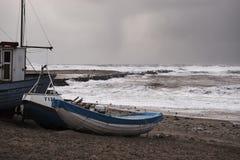 Storm i Nr Vorupør på Nordsjönkusten i Danmark Royaltyfri Foto