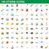 100 storm icons set, cartoon style. 100 storm icons set in cartoon style for any design vector illustration Royalty Free Stock Images