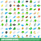 100 storm icons set, isometric 3d style. 100 storm icons set in isometric 3d style for any design vector illustration Stock Photo