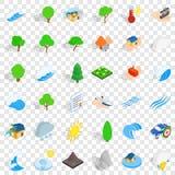 Storm icons set, isometric style. Storm icons set. Isometric style of 36 storm vector icons for web for any design royalty free illustration