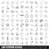 100 storm icons set, outline style Stock Photo