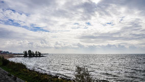 Storm on IJselmeer, an Inland Sea in the Netherlands Royalty Free Stock Photo