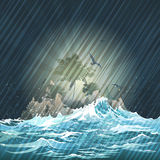 The Storm. Illustration with lost island in the storming ocean against night rainy sky stock illustration
