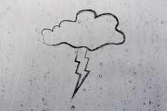 Storm illustration on raindrops background Stock Photo