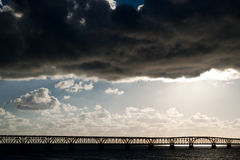Storm in Key West. Storm approaching Key West seen from the highway with the railway bridge - Key West - USA 2010 Royalty Free Stock Photos