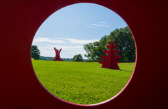 Storm King Art Center. Steel art works with red paint displayed in Storm King Art Center, New Windsor, New York Stock Photo