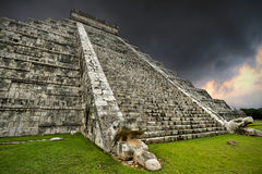 Storm at Kukulkan pyramid stock images