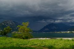 A storm at the lake Como in a summer day. Royalty Free Stock Photo