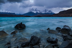 Storm on Lake Pehoe in the autumn. Torres del Paine, Argentina Stock Photography