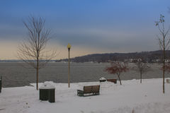 Before the storm. This lake view was taken before a recent snow storm when the sky was looking ominous with the coming snow storm stock image