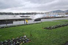 Storm on the lakeside, Geneva, Switzerland Royalty Free Stock Photo