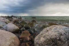 Storm landscape of rocky Baltic sea coast Royalty Free Stock Image