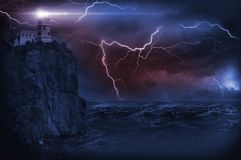Storm and Lighthouse. Illustration. Heavy Storm at NIght and Lighthouse on the Rock Royalty Free Stock Images