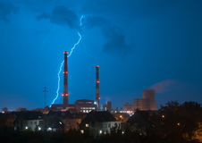 Storm and lightning. Above power station Stock Photography