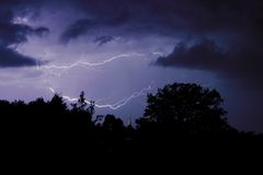 Storm. Lightning over the church Royalty Free Stock Photos